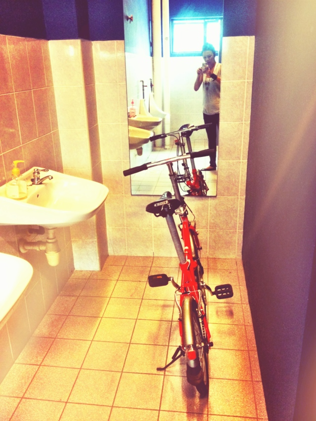 Hid my colleague's bike in the men's washroom. Tame in my books but it had to be done.