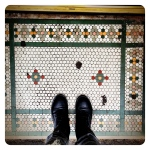 Admiring the vintage tiles on Smith Street, Prahran.